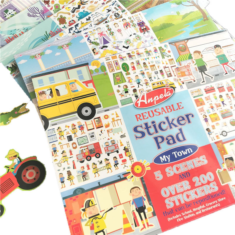 37*25cm Children Big Cartoon Reusable Sticker Pad Include 5 Scences Kids Stickers Book Animals Vehicle Dress-up Sticker Gift