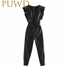 PUWD 2019 Autumn and winter new women's black belt with artificial leather Jumpsuit Lotus leaf sleeve zipper pencil pants(China)