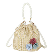 Retro small bag new lace pumping bucket 2019 fashion woven beach creative cute