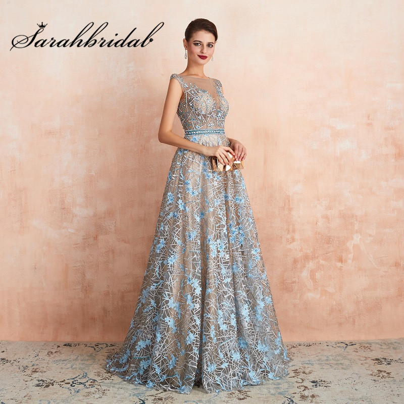 Romantic Blue Evening Dress Long Formal A Line O Neck Illusion Beads Embroidery Dubai Handmade Prom Party Gown Vestidos SQS67360