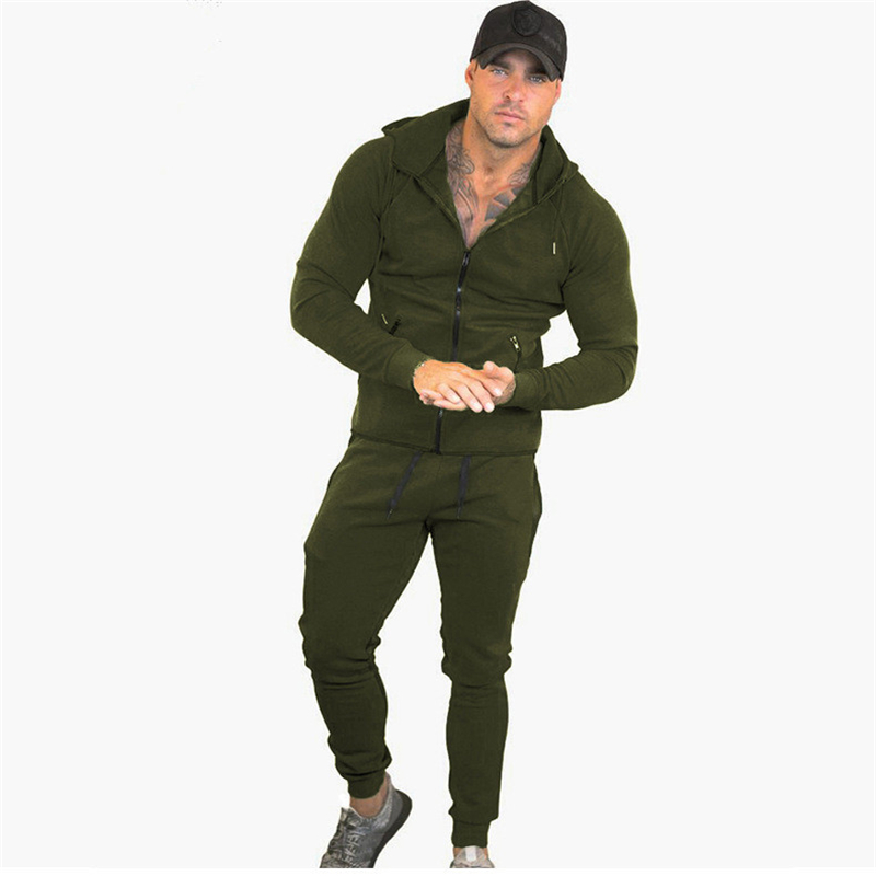 Autumn And Winter Men's Set Fashion Sportswear Tracksuits Sets Men's Bodybuilding Hoodies+Pants Casual Outwear Suits Size M-XXL