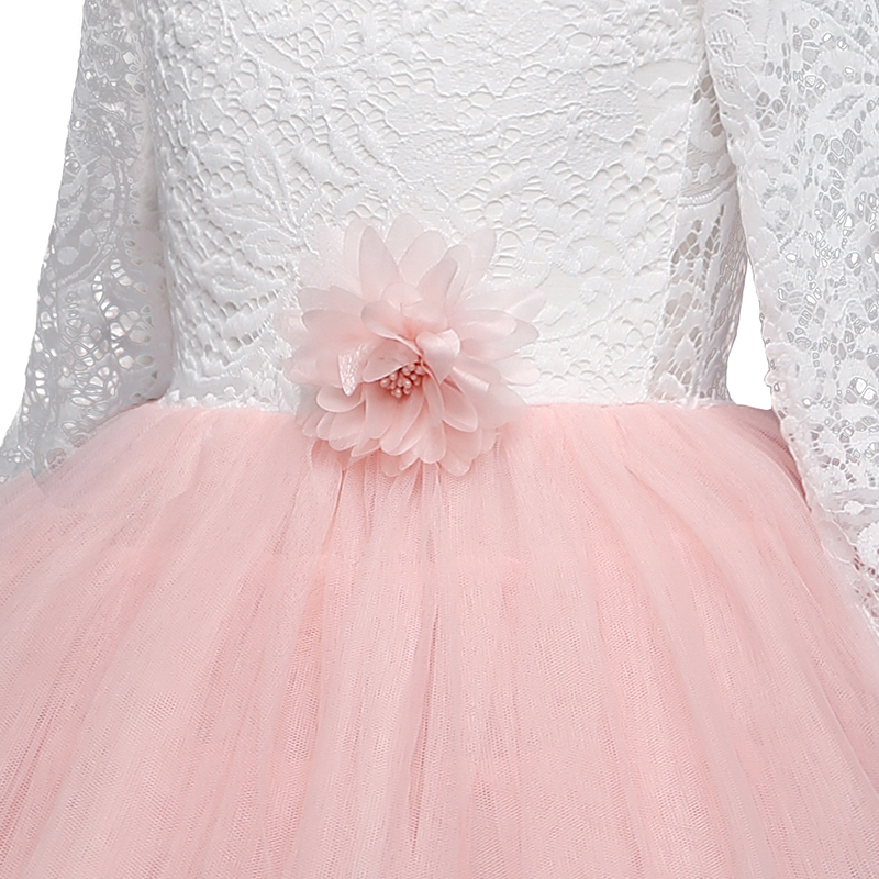 Girls Spring Lace Embroidery Princess Dress Kids Flower Fluffy Cake Smash Tutu Dress Children Wedding Birthday Party Costume 6