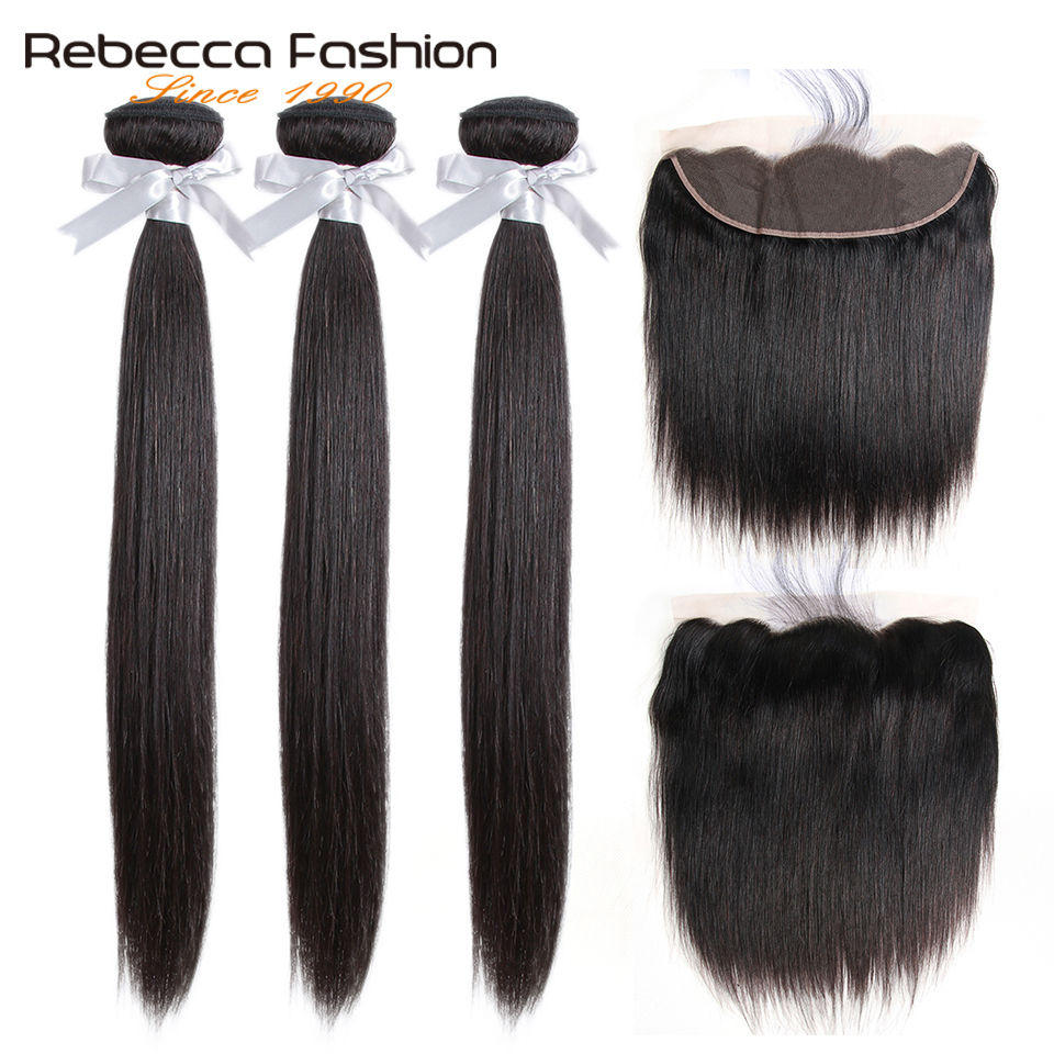 Rebecca Brazilian Straight Hair Lace Frontal Closure With Bundles Remy Human Hair With Lace Frontal 3 Bundles With Frontal