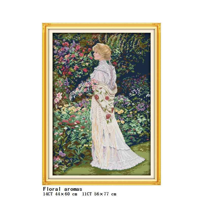 Ogród zbieranie kwiatów i pachnących kwiatów dziewczyna serii liczyć i tłoczenia cross stitch 14CT11CT zestaw do haftowania zestaw do szycia