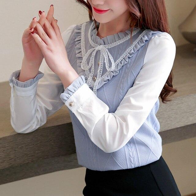Elegant For Women 2020 Autumn Chiffon Long Sleeves Slim Patchwork Shirt & Blouse Feminine Bow Stand Tops Shirt Plus Size 3XL 3