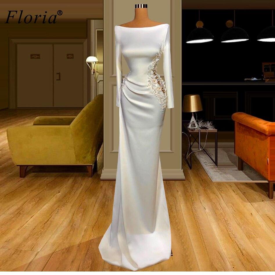 Arabisch Weiß Formale Prom Kleider 14 Lange Meerjungfrau Blumen