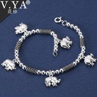 V.YA 19cm 925 Sterling Silver Elephant Bracelet for Women Ladies Ethnic Charm Bracelets & Bangles Women's Jewelry