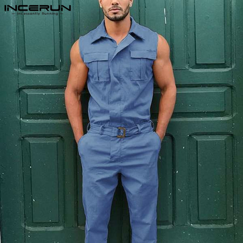 INCERUN Fashion Men Jumpsuit Cargo Overalls Lapel Sleeveless Solid Color Pants With Belt 2020 Pockets Streetwear Casual Rompers