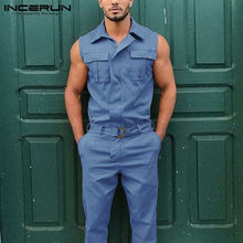 INCERUN Fashion Men kombinezon Cargo kombinezony Lapel bez rękawów solidny kolor spodnie z paskiem 2021 odzież uliczna z kieszeniami Casual pajacyki