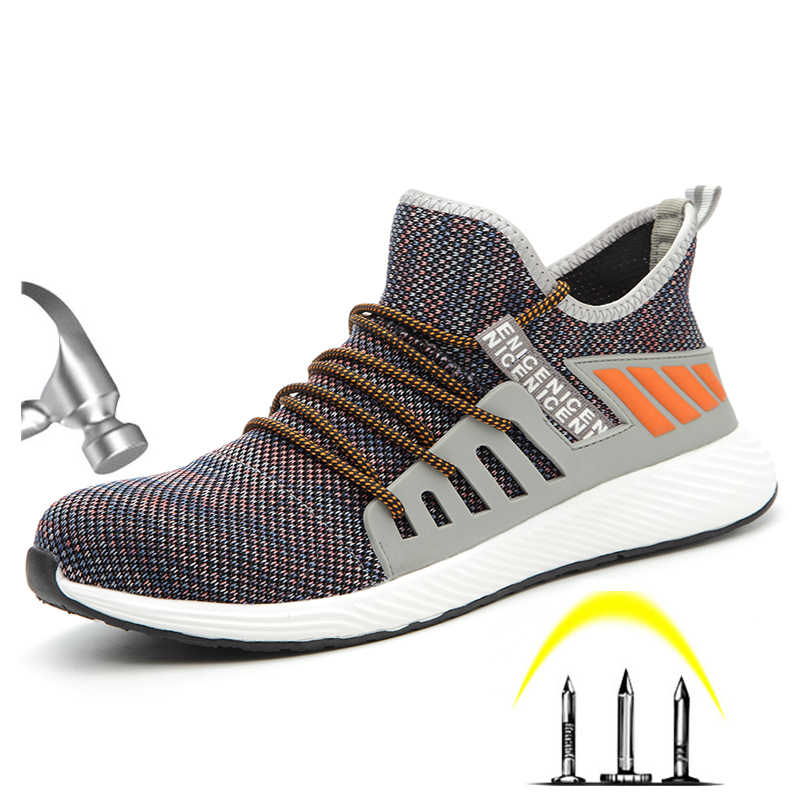 CE onaylı çelik ayak erkek açık Anti kayma nefes koruyucu iş ayakkabısı çizmeler erkek delinme geçirmez güvenlik ayakkabıları
