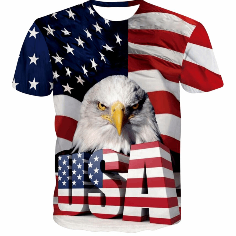 New USA Flag T-<font><b>shirt</b></font> Men/Women <font><b>Sexy</b></font> <font><b>3d</b></font> Tshirt Print Striped American Flag Men T <font><b>Shirt</b></font> Summer Tops Tees Plus 4XL 5XL image