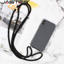 JASTER Transparent TPU Mobile Phone Covers With Lanyard Necklace Shoulder Neck Strap Rope Cord for iphone 7 8 plus x xs max(China)