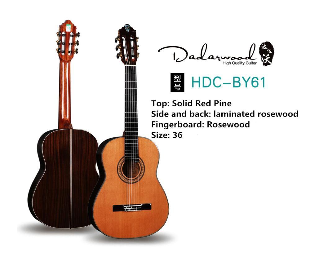 Dadarwood BY61 36 pouces pin rouge haut guitare classique, guitare acoustique