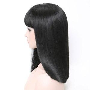 Image 4 - COSYCODE 여성을위한 bangs와 블랙 합성 가발 16 inch 40 cm 코스프레 가발 어깨 길이 의상 가발 스트레이트