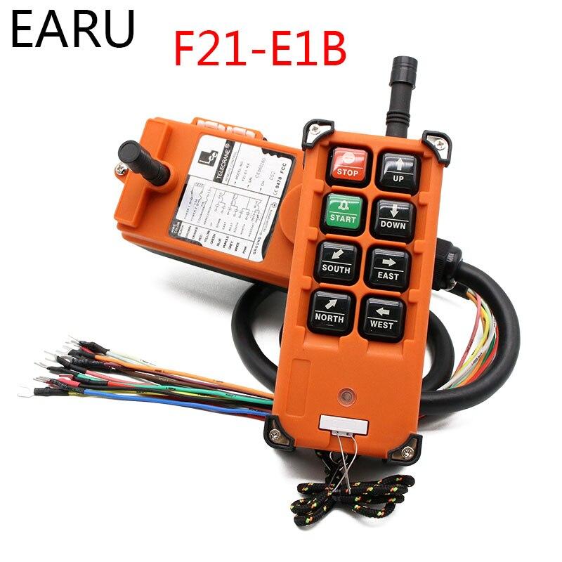 Télécommande industrielle sans fil commutateurs grue grue contrôle ascenseur grue 1 transmetteur + 1 récepteur F21-E1B 6 canaux
