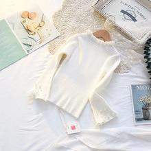 Свитер для девочек г., Новая Стильная универсальная рубашка в Корейском стиле с рукавами-колокольчиками и жемчужинами свитер для маленьких девочек