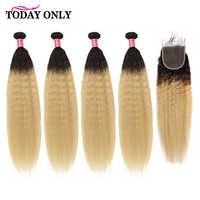 Aujourd'hui, seuls les paquets de cheveux raides frisés malaisiens avec fermeture Blonde 4 paquets avec fermeture Remy paquets de cheveux humains avec fermeture