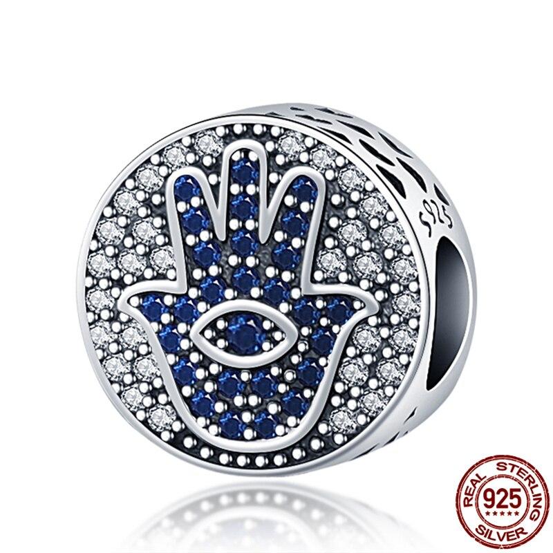 Genuine 925 Sterling Silver Zircon Round Palm Beads Fit Original 3mm Bracelet&Bangle For Women Birthday Fashion Jewelry Gift