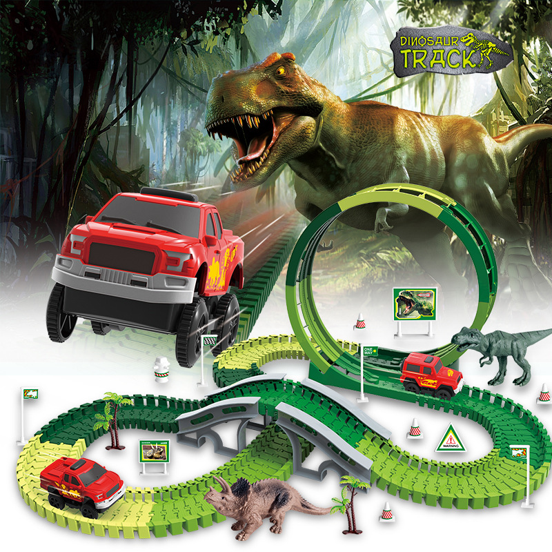 2019 HOT Selling Electric Dinosaur Toys Railway Magical Racing Track Toy Set DIY Magicl Tracks Car Toys Race Tracks For Boy