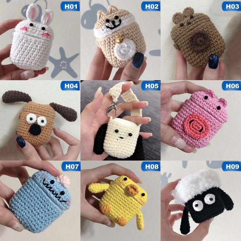 Handmade Cute Cartoon Protective Knitted Case Skin Sweater Cover Silicone Headset Box Knitting Wool Earphone Cover For AirPods
