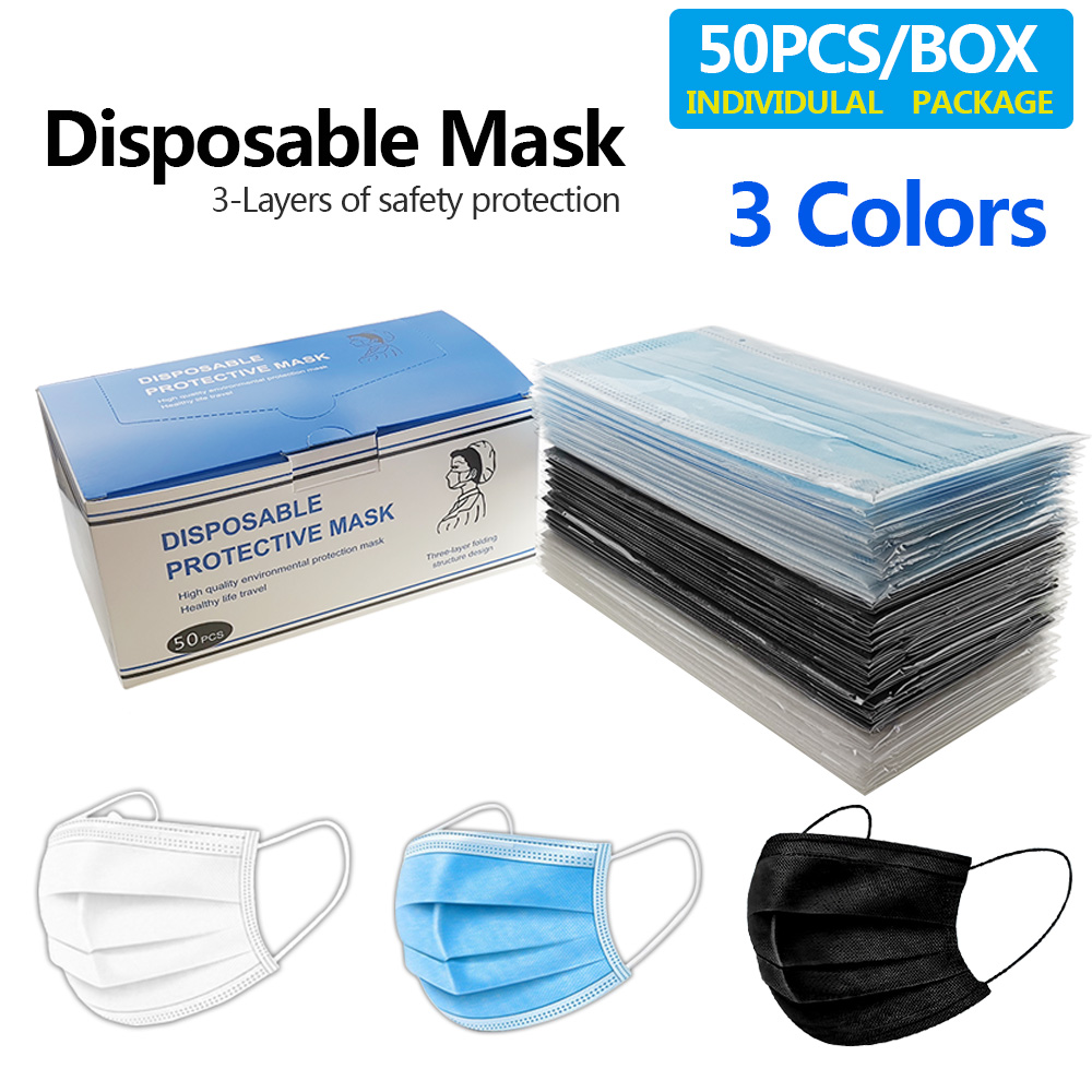 100/200PCS Disposable Mouth Mask 50pcs/Box 3 Layers Dust Mouth Mask Mouth-muffle Bacteria Proof Flu Kids Face Masks