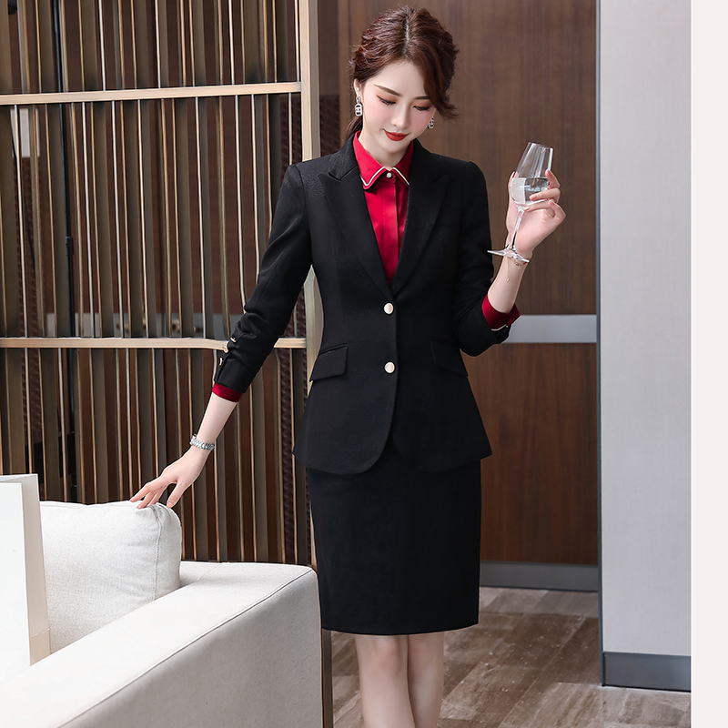 Ladies Blazer Skirt Suit 2 pieces Set High Quality With Stretch color Black Pink Dark Blue Office Manager Work Wear for Women