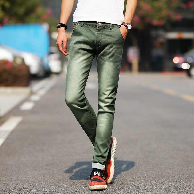 Mannen Stretchy Denim Skinny Groen Jeans 2020 Lente Herfst Merk Classic Hoge Kwaliteit Mode Jeans