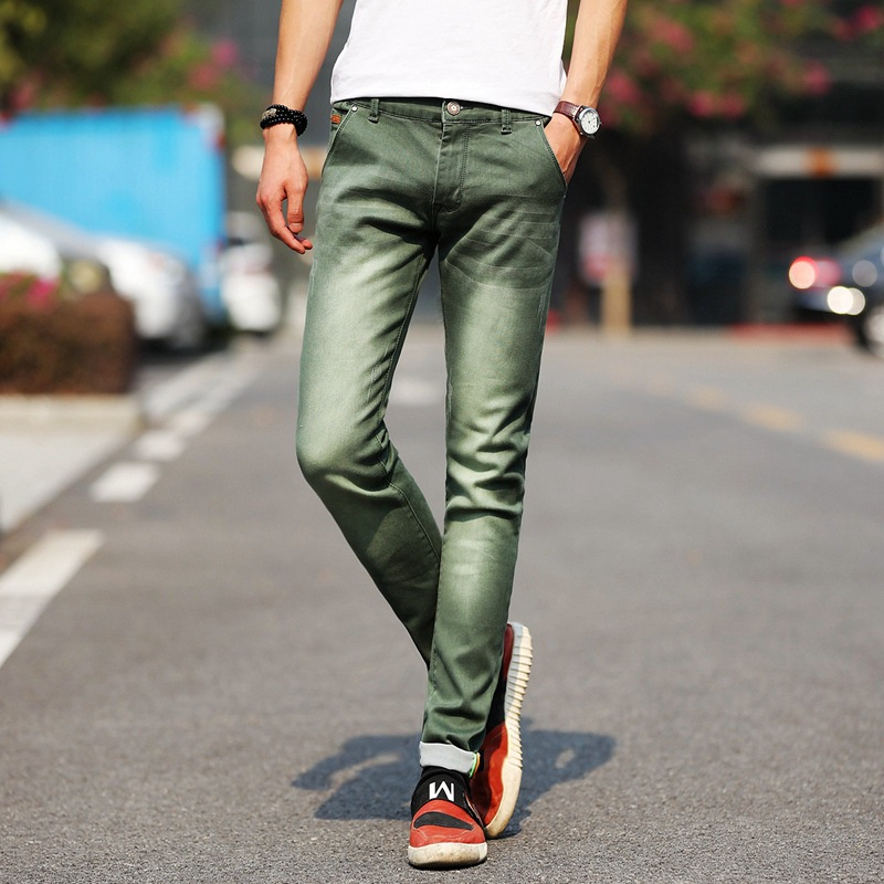 Men Stretchy Denim Skinny Green   Jeans   2019 Spring Autumn Brand Classic High Quality Fashion   Jeans