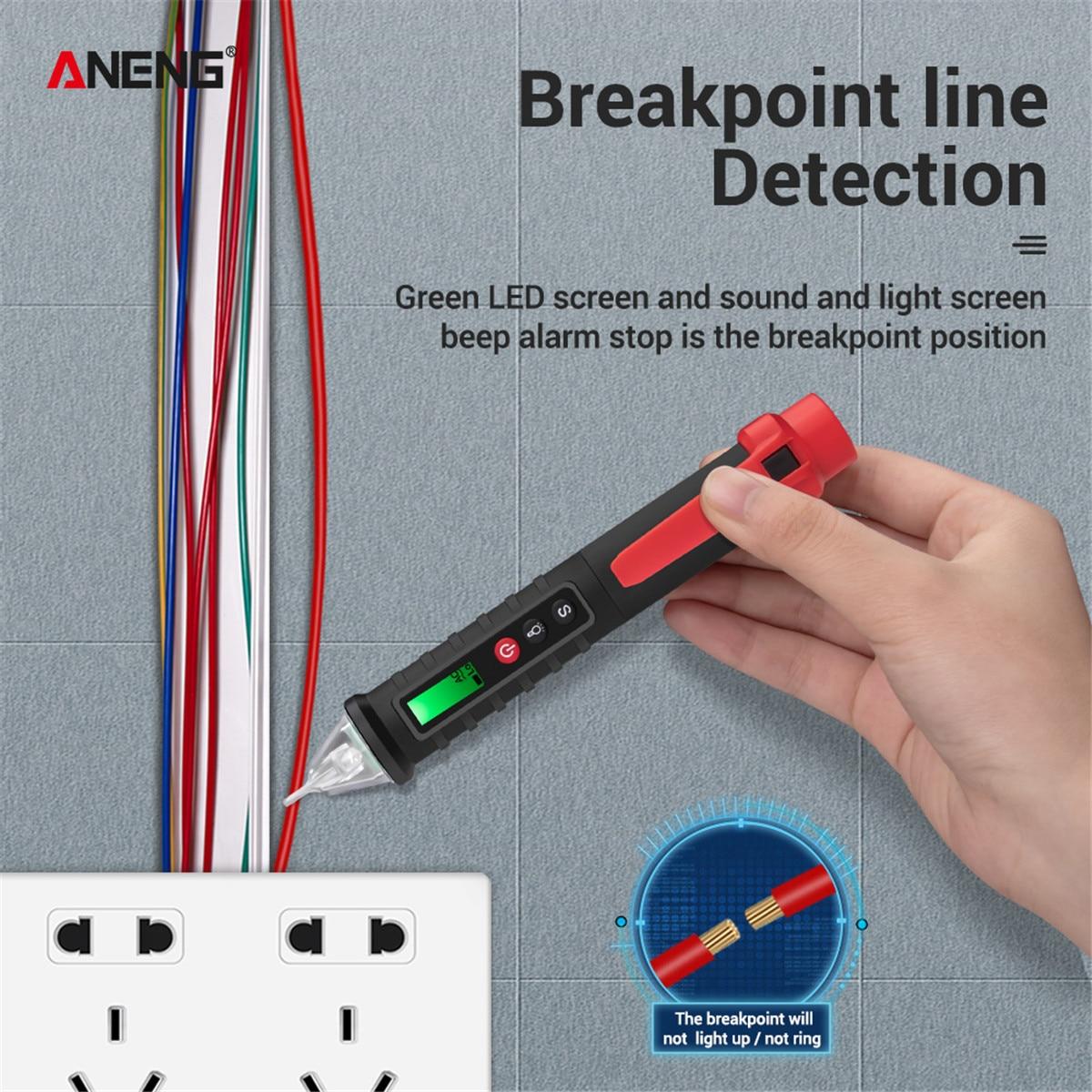 Цифровой детектор напряжения ANENG VC1010, бесконтактный Тестер-ручка, измеритель напряжения 12-1000 В переменного/постоянного тока, электрический ...