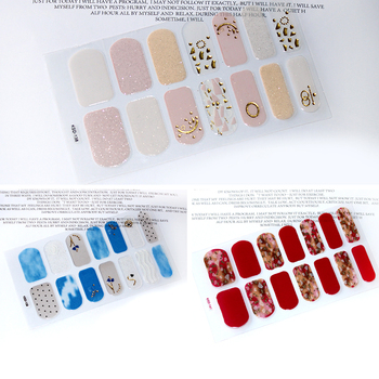 цена на 14tips/set Full Cover Nail Stickers Wraps Decoration DIY for Beauty Nail Art Decals Plain Stickers Self Adhesive Nail Stickers
