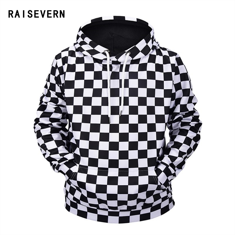 Raisevern New Black White Checkerboard Hoodies Plaid Print 3D Hooded Sweatshirts Women Men Unisex Hip Hop Tops Dropship
