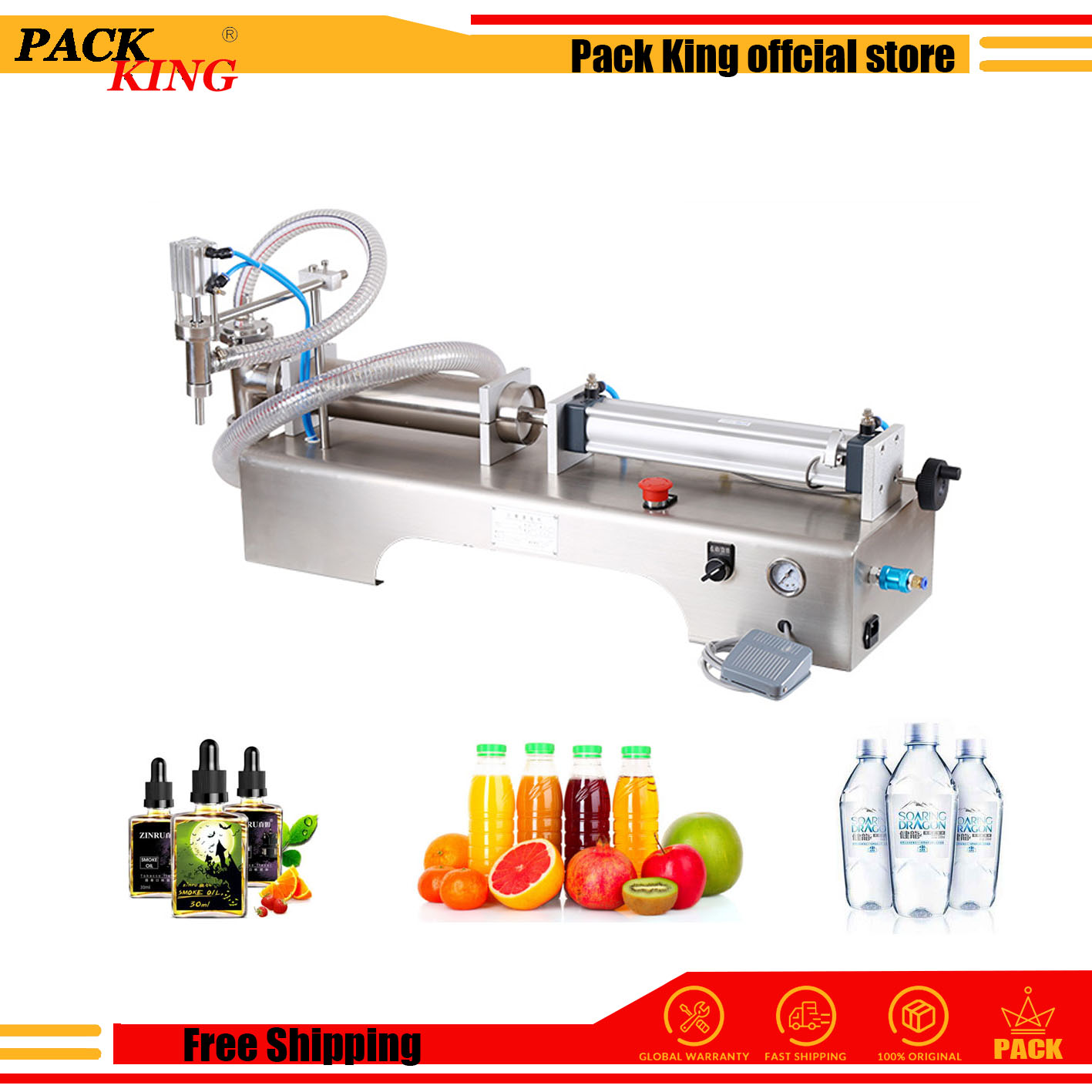 Pneumatic Piston Liquid Filler Shampoo Gel Water Wine Milk Juice Vinegar Coffee Oil Detergent Liquid Soapfilling Machine
