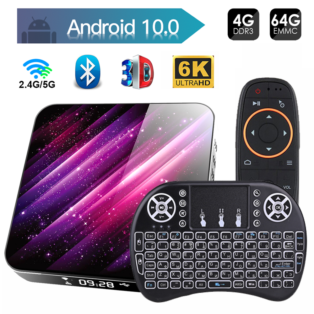 Tv Box Android 10 2.4G & 5.8G Wifi H616 Bluetooth Media Player 4K 3D Video 4Gb 32Gb 64Gb Youtube Smart Tv Box Android