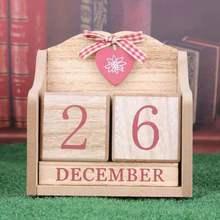 Vintage Navidad Adviento madera calendario permanente organizador de agendas accesorios de fotografía Accesorios de escritorio decoración de la Oficina del hogar
