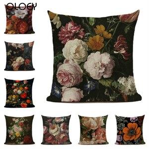 Наволочка на подушку из хлопка и льна, Наволочка на подушку с цветочным рисунком, Наволочка на подушку для украшения гостиной 45*45 см