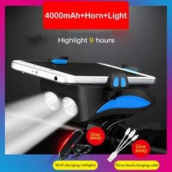 Rower lampka USB akumulator przedni ostrzeżenie lampy błyskowej latarka uchwyt do telefonu na kierownicę rower podkreślić lampa jazda na rowerze róg światła Led