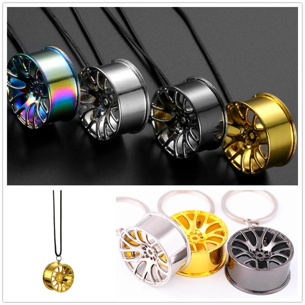Car Wheel Hanging Auto Mirror Decoration Key Chian Keychian Ring Keyring Wear Fashion Accessories