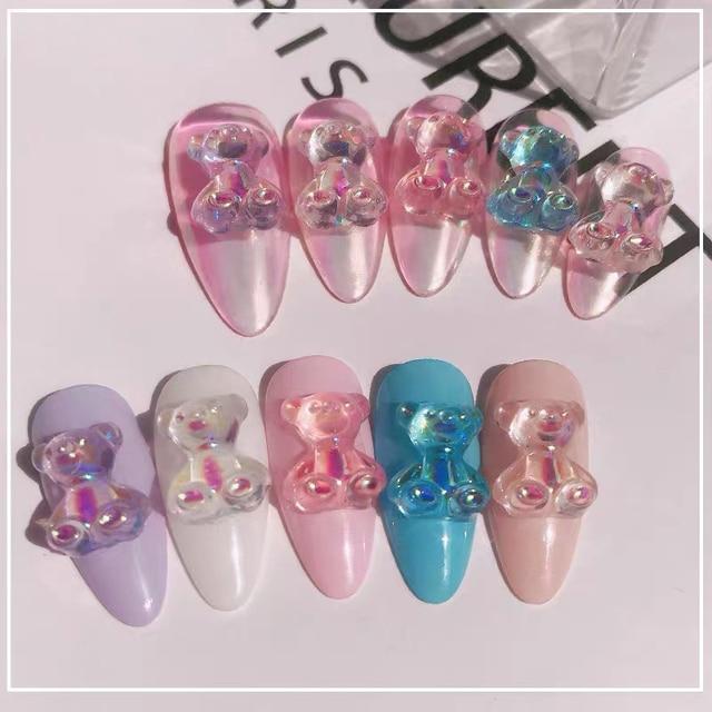 Mixed Size  Aurora Little Bear Nail Art Accessories Resin Kawaii Bear Stereo 3D Fashion Fingernail DIY Decoration 4