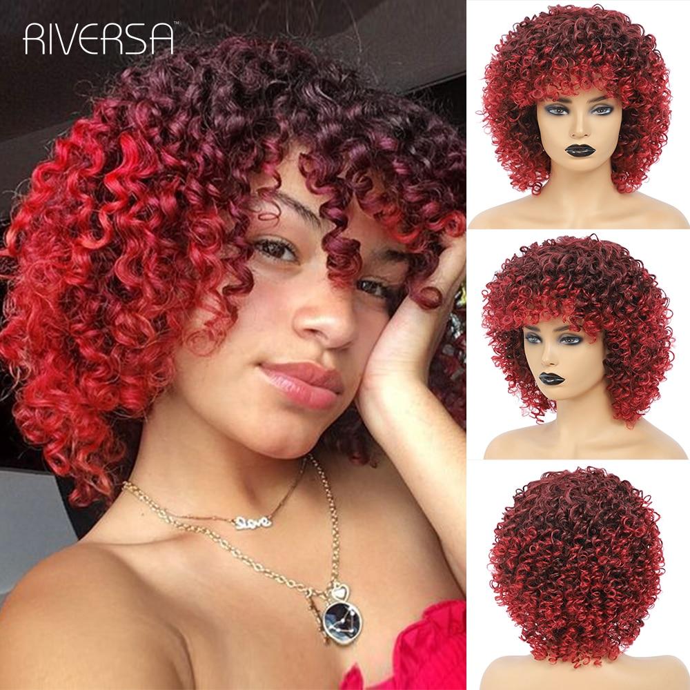 Peluca de cabello sintético Afro rizado para mujer, ombré rojo, vino, gris, Rubio 27-33, marrón, resistente al calor, Riversa