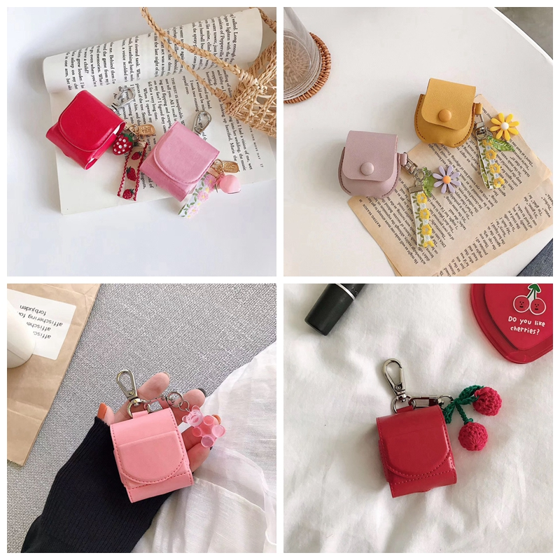 For AirPods Case Cute Cartoon Cherry Bear Earphone Leather Cover For Apple Airpods 2 Funny Pocket Bag Protect Cases With Lanyard
