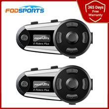 2 قطعة Fodsports V6 زائد دراجة نارية الخوذة إنترفون سماعة بلوتوث OLED شاشة FM راديو HD ستيريو Intercomunicador موتو 6 رايدر