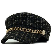 Women Hats Newsboy-Caps Military-Cap Vintage Tweed Plaid Flat-Top Winter Autumn Chain