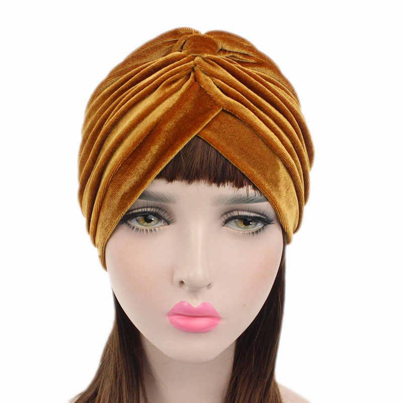 Muslim Stretch Beludru Cross Sorban Topi Syal Jilbab Syal Sorban Topi Kanker Hiasan Kepala Multifungsi Sorban Femme Musulman