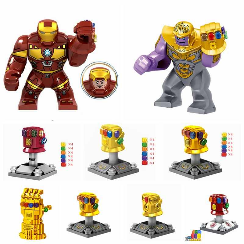 Legoing Hombre de Hierro Thanos guante piedras de poder guantes Marvel vengadores final bloques de construcción de juguetes maravillas vengadores superhéroes