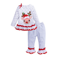 Baby Christmas Set Newborn Cartoon Deer Long Sleeve Suit  My First Clothing Girl Casual Bottoms Outfits 3-24M