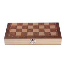 Deluxe 9.5x9.5 Inch Chess Checker Backgammon 3 in 1 Wooden Travel Game Set