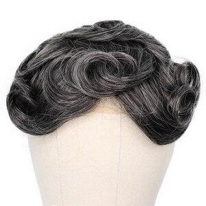 Image 2 - YY פאות 1B טבעי שחור מעורב אפור שיער טבעי פאה גברים מונו נטו & pu רמי שיער החלפת מערכת גברים של פאה 6 אינץ 8x10