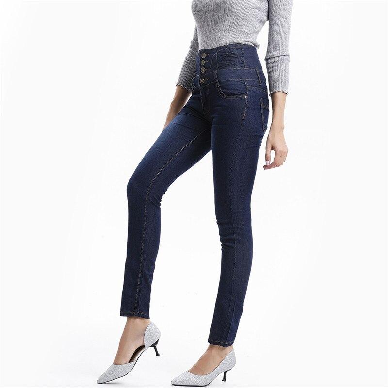 Осенние женские джинсы с высокой талией, на пуговицах, тянущиеся, обтягивающие, джинсовые, женские брюки-карандаш длиной до щиколотки