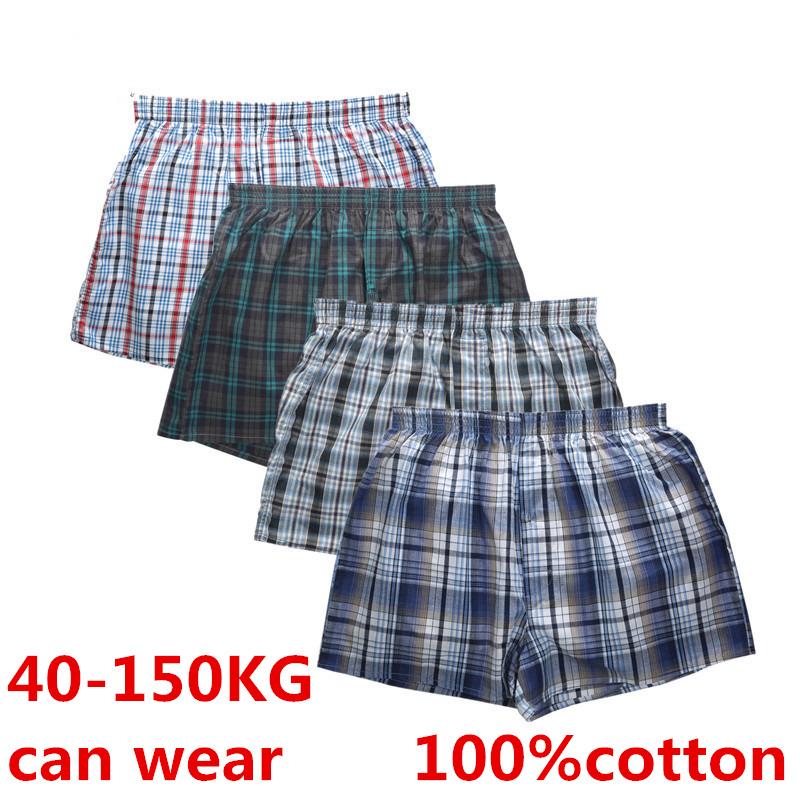 4Pcs Boxer Men Underwear Cotton Man Short Breathable Plaid Woven Shorts Boxer Male Underpants Plus Size Pajamas Sleep Bottoms