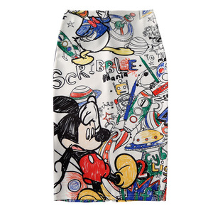 Women's Pencil skirt 2019 New Cartoon Mouse Print High Waist Slim Skirts Young Girl Summer Large Size Japan Female Falda SP534(China)